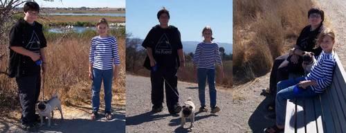 Adam, Julia and Sheba walking, stopping and sitting