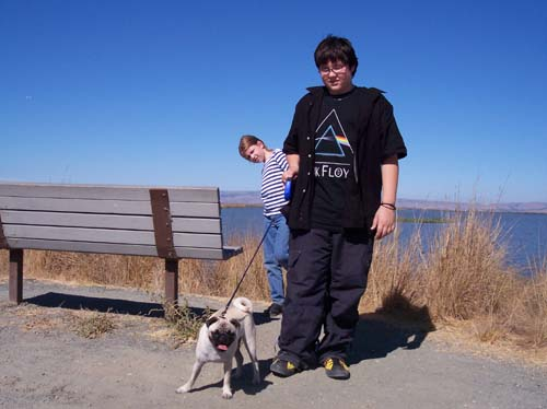 Adam, Julia and Sheba on the SF Bay