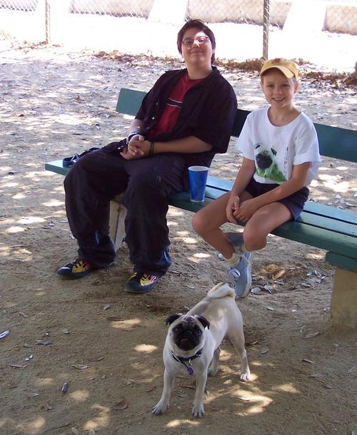 Adam, Julia and Sheba in the dog park