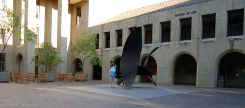 Stacy and Sheba at Stanford Law School