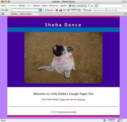 Google Pages Sheba Dance Web Site